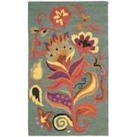 Safavieh Traditional Handmade Blossom Blue Wool Rug - 3' x 5'