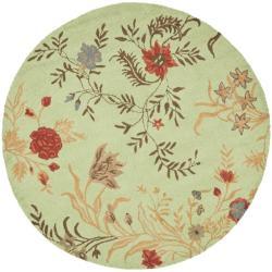 Safavieh Handmade Blossom Green/ Rust Wool Rug (6' Round)