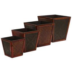 Bamboo Square Decorative Planters (Set of 4)