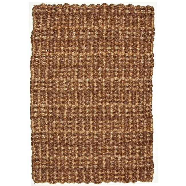 Masala Brown and Natural Tan Jute and Abaca Rug (5' x 8')