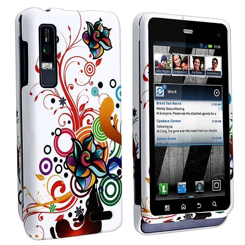 White Autumn Flower Rubber-coated Case for Motorola Droid 3 XT862