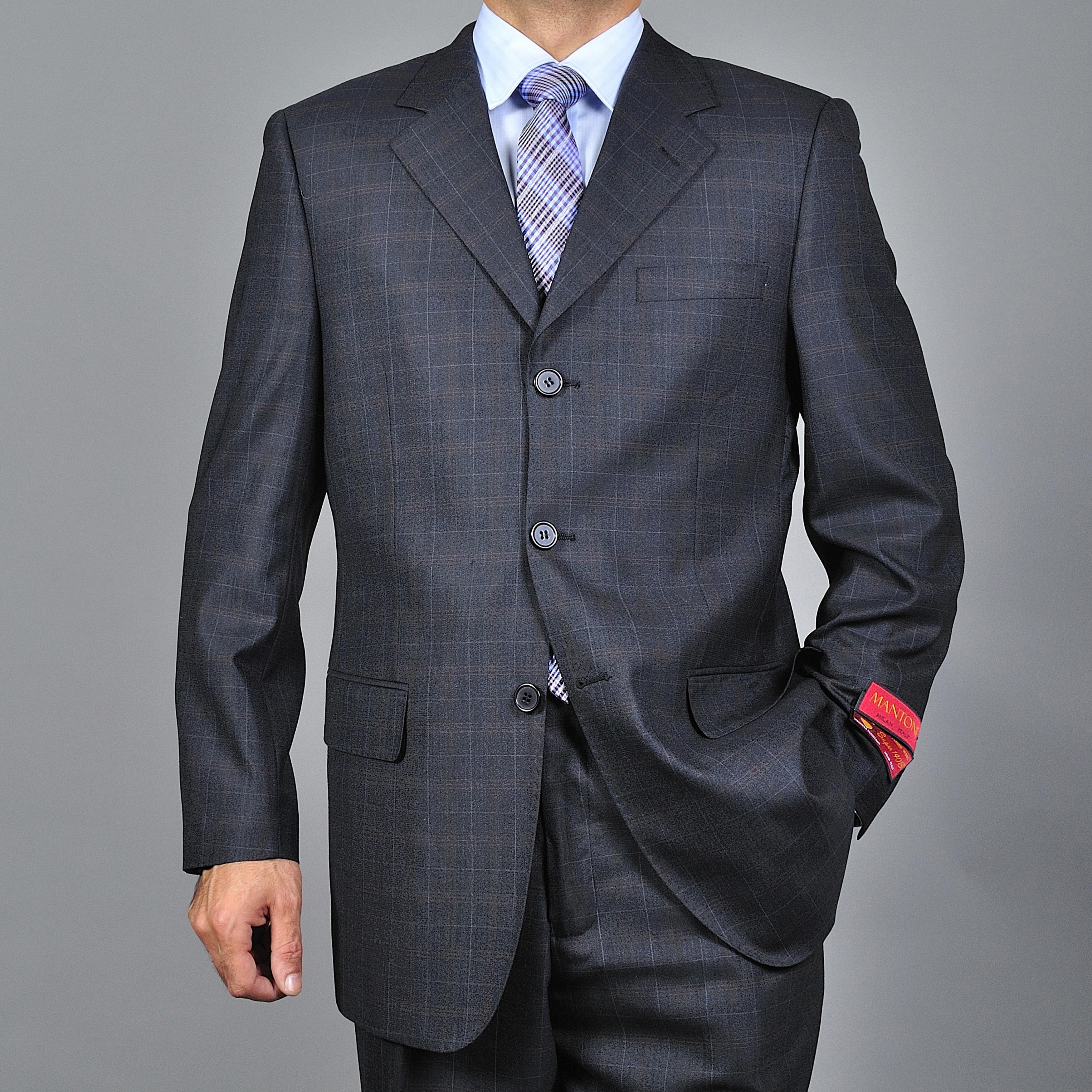 Men's Charcoal Windowpane Grey 3-button Wool Suit
