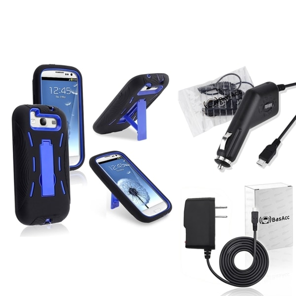 INSTEN Hybrid Case Cover/ Travel/ Car Chargers for Samsung Galaxy S III/ S3