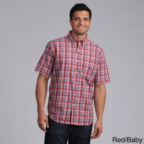 Chaps men 39 s plaid short sleeve button down shirt free for Chaps shirts on sale