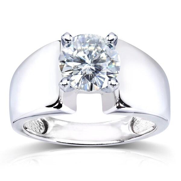 Annello by Kobelli 14k White Gold Prong-set Round Moissanite Solitaire Ring