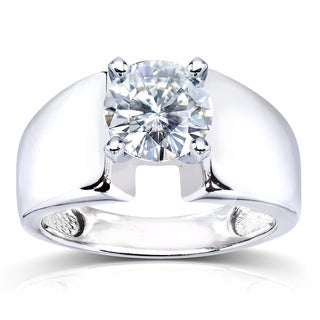 Annello by Kobelli 14k White Gold Prong-set Round Moissanite Solitaire Ring