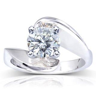 Annello by Kobelli 14k White Gold Round-cut Moissanite Solitaire Curved Ring