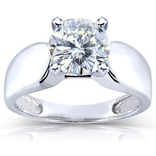 Annello by Kobelli 14k White Gold Prong-set Round-cut Moissanite Solitaire Ring