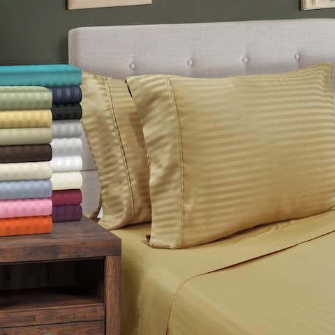 Superior Wrinkle Resistant Stripe Microfiber Deep Pocket Bed Sheet Set