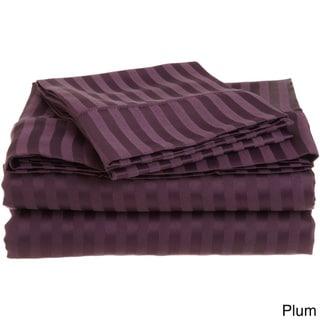 Superior Wrinkle Resistant Stripe Microfiber Sheet Set