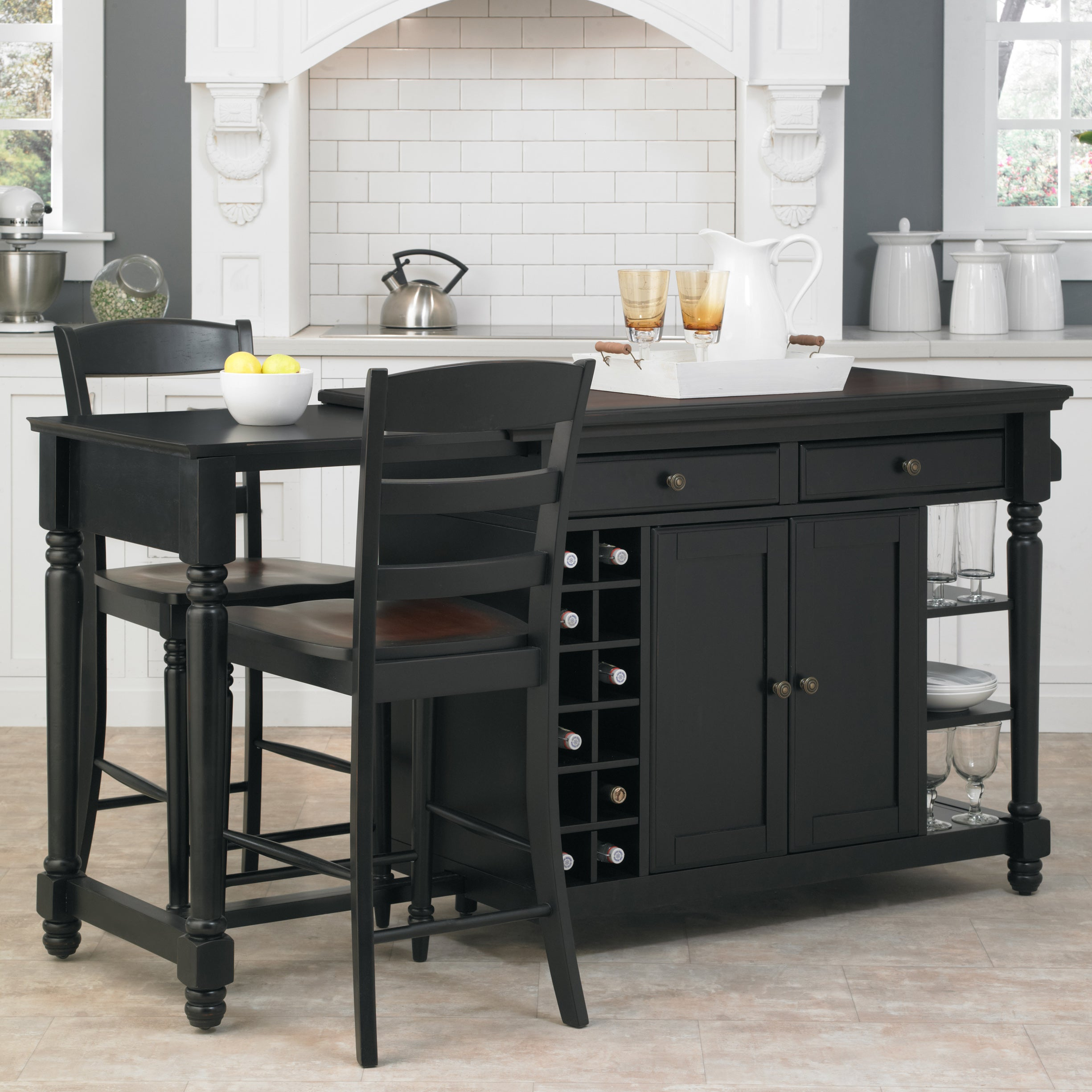 Shop Gracewood Hollow Remarqu Kitchen Island and 2 Stools - Free ...