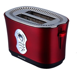 Ovente 2250RM Metaliic Red 2-slice Toaster