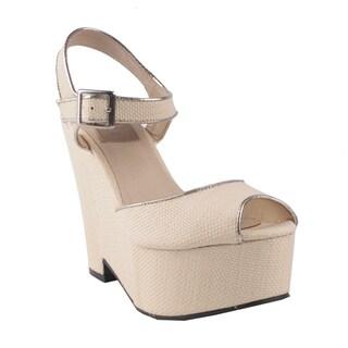 Fahrenheit by Beston Women's 'Madelina-01' Peep-toe Wedge Sandals