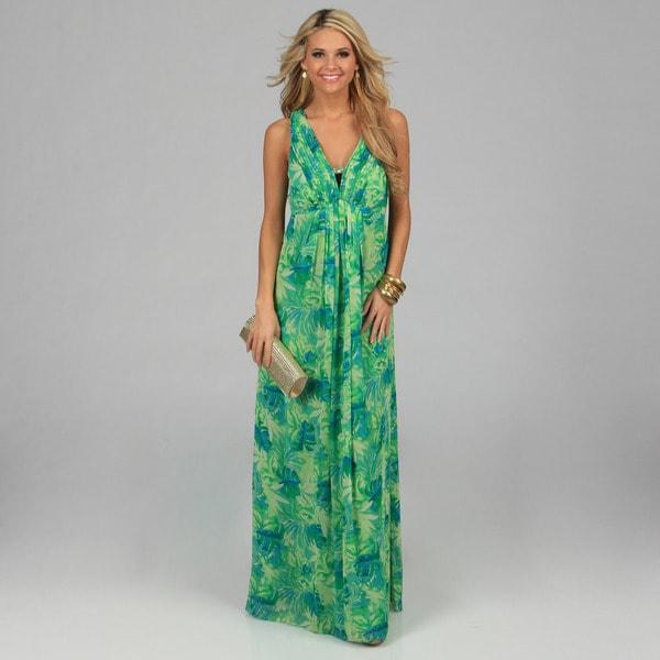 Oleg Cassini Womens Green Tropical Printed Long Dress