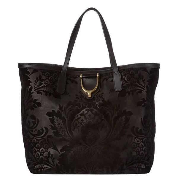 Gucci Black Soft Brocade Leather Stirrup Tote Bag