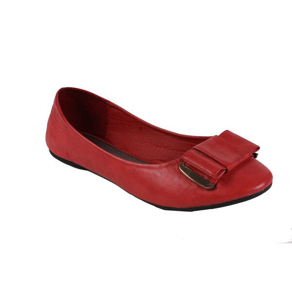 Spicy by Beston Women's Coral Bow Ballet Flats