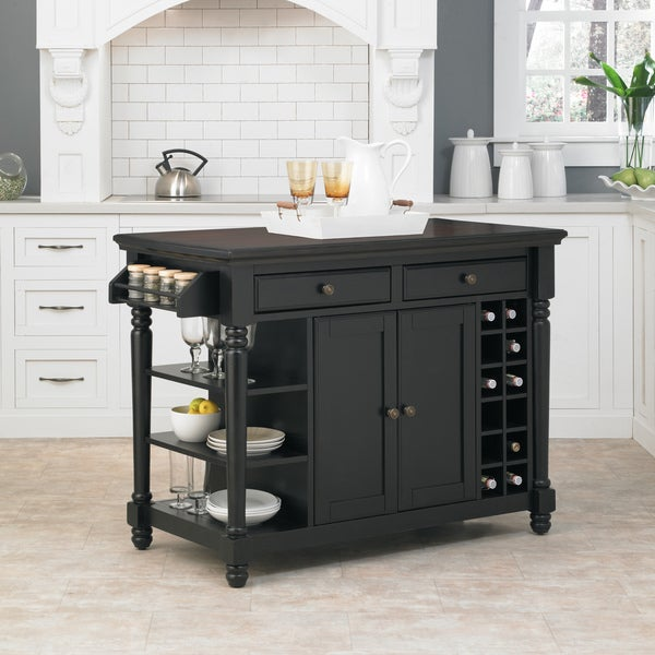 Home Styles Grand Torino Black And Rustic Cherry Kitchen Island