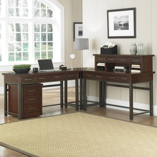 Home Styles Cabin Creek Corner 'L' Desk and Mobile File