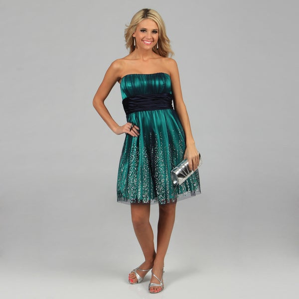 Blondie Nites Juniors Blue Strapless Glitter Mesh Party Dress