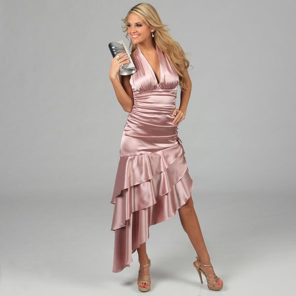b5ef9e28fb8 Shop Blondie Nites Juniors Rose Tiered Ruffles Halter Dress - Free ...
