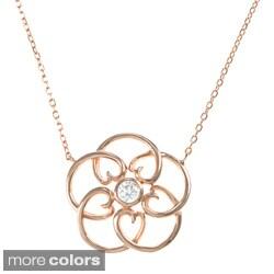 La Preciosa Sterling Silver Cubic Zirconia Open Flower 18-inch Necklace