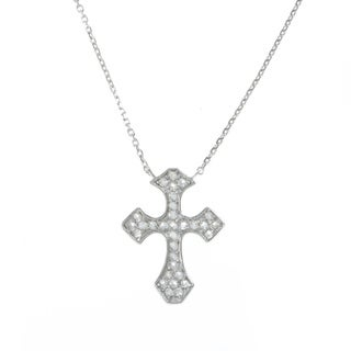La Preciosa Sterling Silver White Topaz Cross 16-inch Necklace