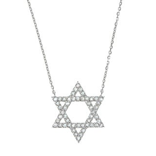 La Preciosa Sterling Silver White Topaz Star of David Necklace