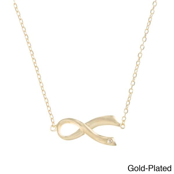 La Preciosa Sterling Silver CZ Sideways Awareness Ribbon Necklace. Opens flyout.