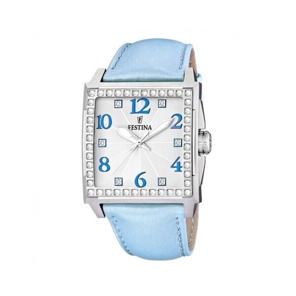 Festina Women's Silver Dial Blue Leather Strap Quartz Watch