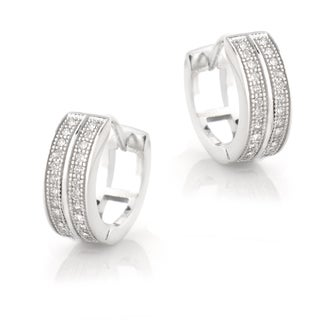 Icz Stonez Sterling Silver Cubic Zirconia Pave Mini Hoop Earrings