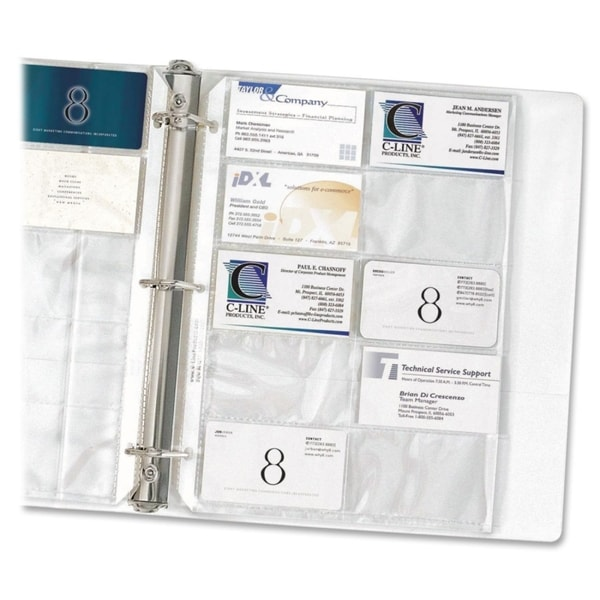 C Line Clear Business Card Binder Pages Pack of 10