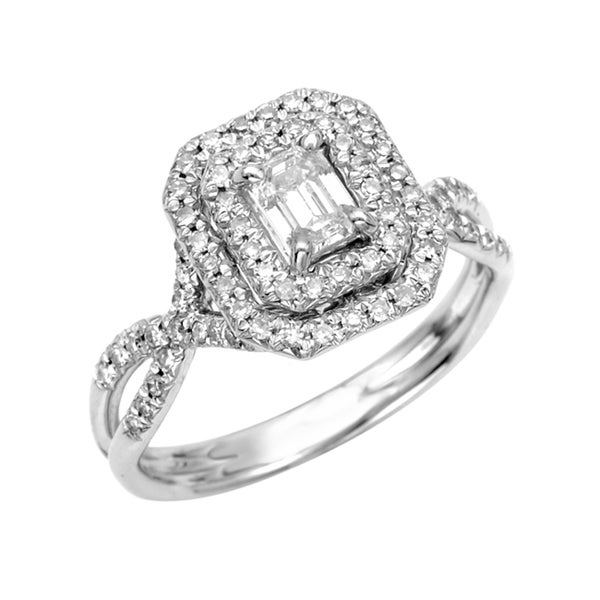New! 14k White Gold 5/8ct TDW Diamond Engagement Ring (G, SI1)
