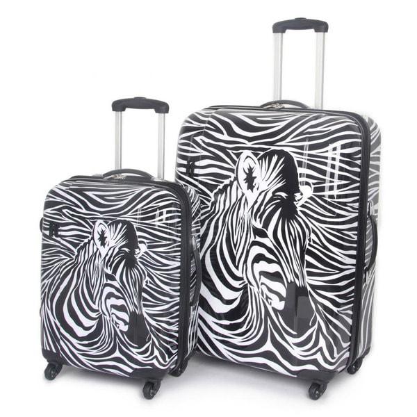 International Traveller USA Zebra Head 2-piece Fashion Hardside Spinner Luggage Set