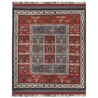 Hand-woven Tribal Red Wool/ Jute Rug (10' x 14') - 10' x 14'
