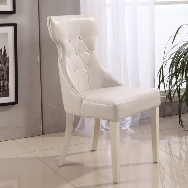 Leather Dinette Sets: Shop Parson Creamy White Faux Leather Dining Chairs (Set