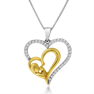 """10k Gold 1/4ct TDW Mother and Baby Heart Necklace - 9'6"""" x 13'6"""""""