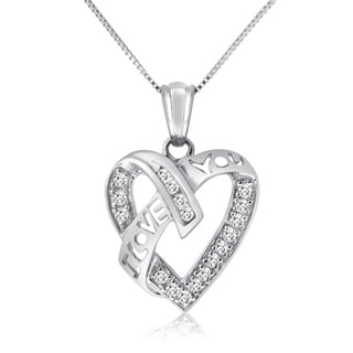 10k White Gold 1/4ct TDW Diamond 'I Love You' Heart Necklace