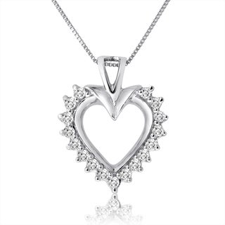 10k White Gold 1/2ct TDW Diamond Heart Necklace (H-I, I1-I2)