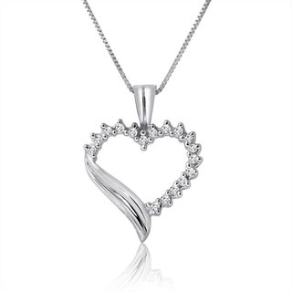 10k White Gold 1/5ct TDW Diamond Heart Necklace
