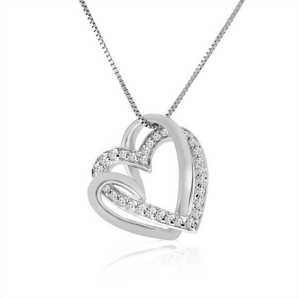 10k White Gold 16ct TDW Diamond Double Heart Pendant Necklace