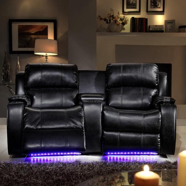 Garrett LED Lighted Massager Cooler 2-seater Theater Loveseat