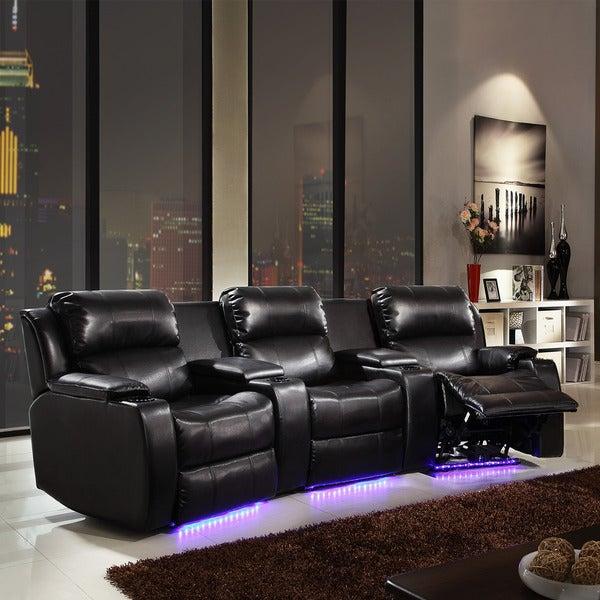 Garrett LED Lighted Massager Cooler 3-seater Theater Sofa