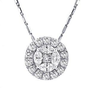 Beverly Hills Charm 14k White Gold 1ct TDW Diamond Circular Halo Necklace (H-I, SI2-I1)