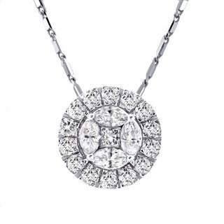 14k White Gold 1ct TDW Diamond Circular Halo Necklace