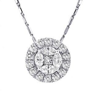 14k White Gold 1ct TDW Diamond Circular Halo Necklace