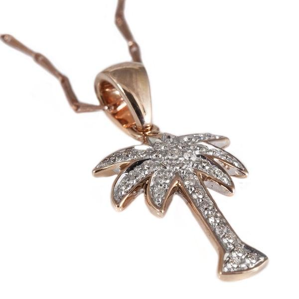 Beverly Hills Charm 14k Rose Gold 1/6ct TDW Diamond Palm Tree Necklace