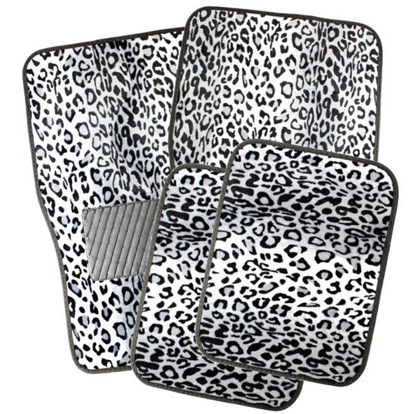 Snow White Leopard Style Floor Mats with Rubberized Spiked Padding