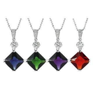 Journee Collection Sterling Silver Cubic Zirconia Square Necklace