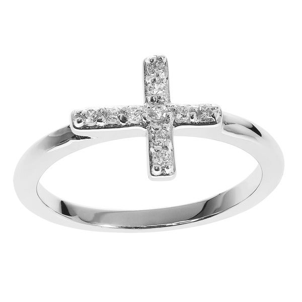 Journee Collection Sterling Silver Cubic Zirconia Holy Cross Ring