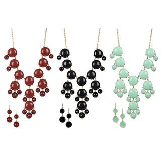 Journee Collection Goldtone Acrylic Bubble Jewelry Set